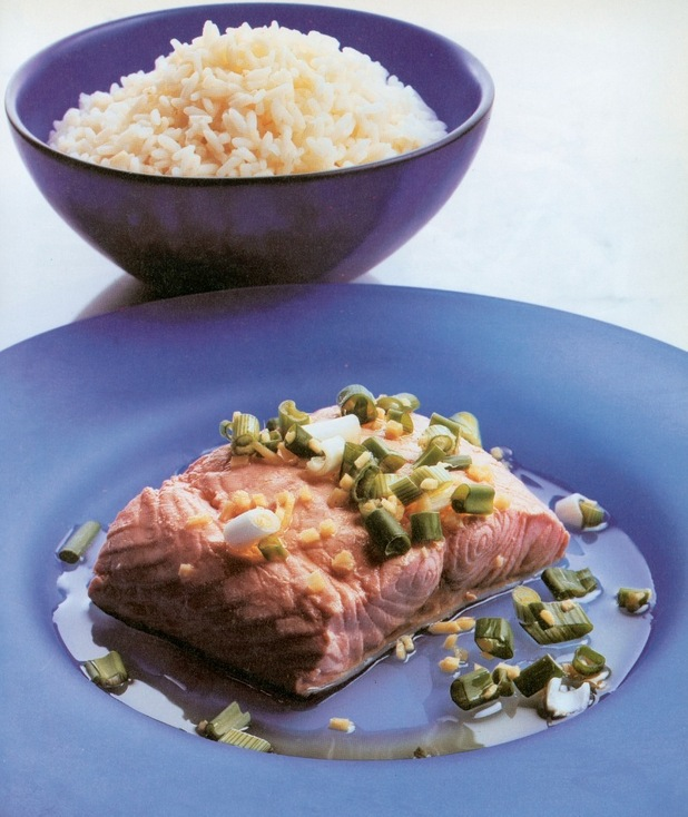 ken Hom's 10 minute salmon with spring onion
