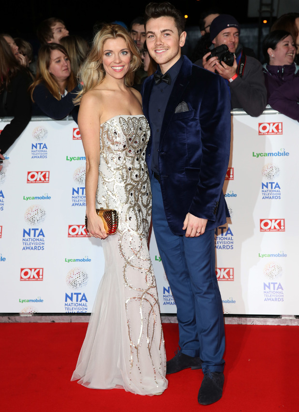 Ray Quinn and wife Emma Stephens attend The National Television Awards 2014 held at the O2 Arena.