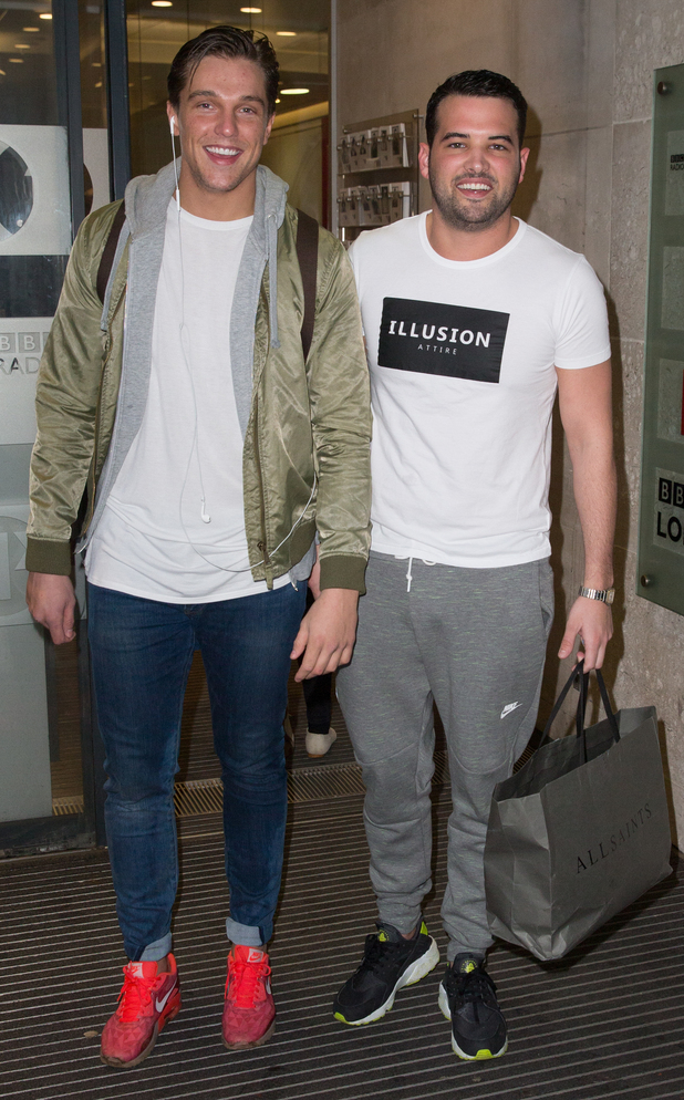 TOWIE's Ricky Rayment and Lewis Bloor at the BBC Radio 1 studios - 19 February 2015.