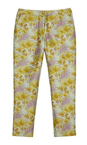 Cutout of Asos floral jacquard trousers