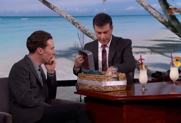 Benedict Cumberbatch marks honeymoon on Jimmy Kimmel Live, 16 February 2015