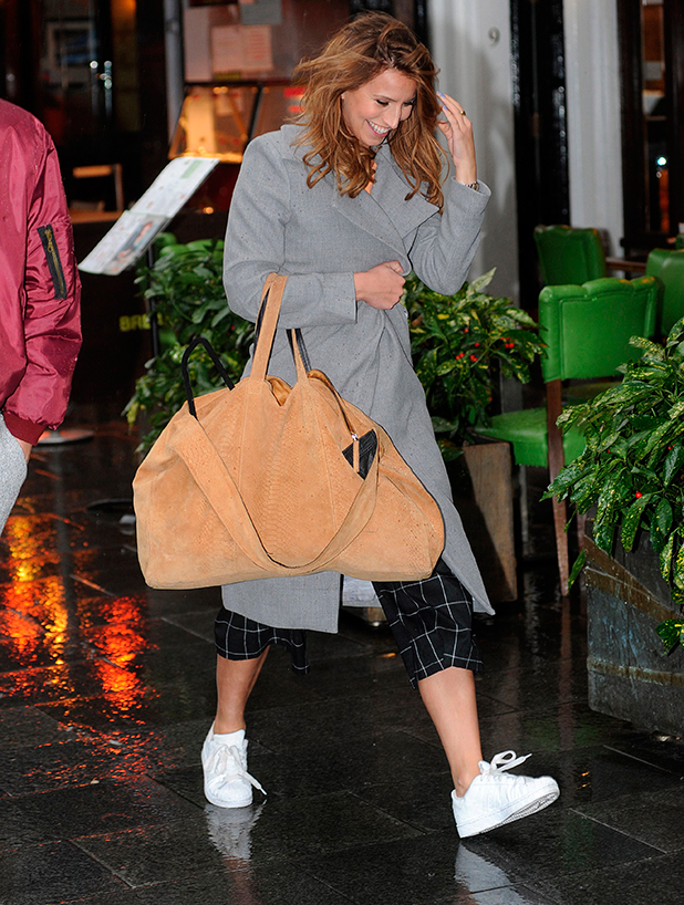 Ferne McCann caught in rain while out and about in London, Britain - 16 Feb 2015