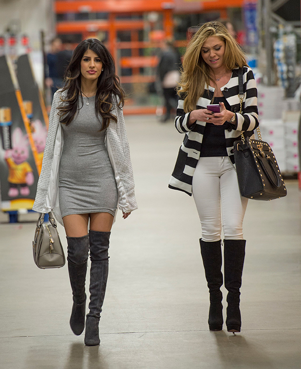 The Only Way is Essex' cast filming at B&A, Billericay, Essex, Britain - 17 Feb 2015 Jasmin Walia and Fran Barman