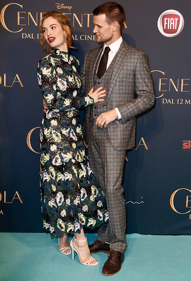 Lily James and Matt Smith at premiere of 'Cinderella' (Cenerentola) held at Cinema Odeon, 18 February 2015