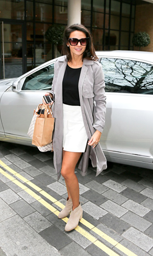 Michelle Keegan wearing Lipsy jacket and shorts