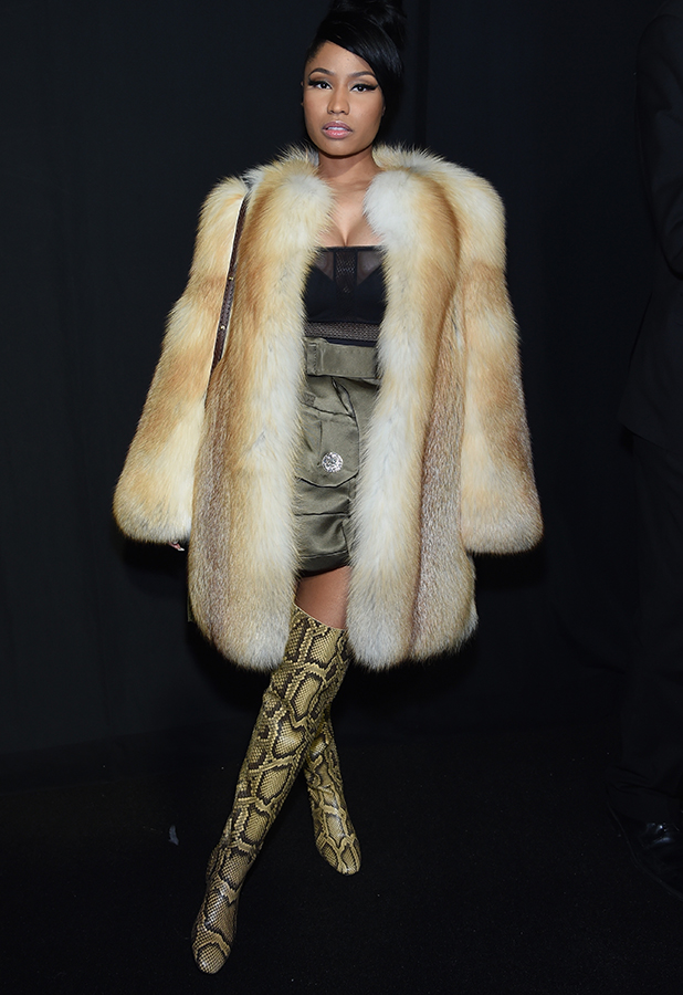 Nicki Minaj poses backstage at the Marc Jacobs fashion show during Mercedes-Benz Fashion Week Fall 2015 at Park Avenue Armory on February 19, 2015 in New York City.