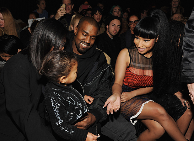 Kim Kardashian, North West, Kanye West and Nicki Minaj attend the Alexander Wang Fashion Show during Mercedes-Benz Fashion Week Fall 2015 at Pier 94 on February 14, 2015 in New York City.