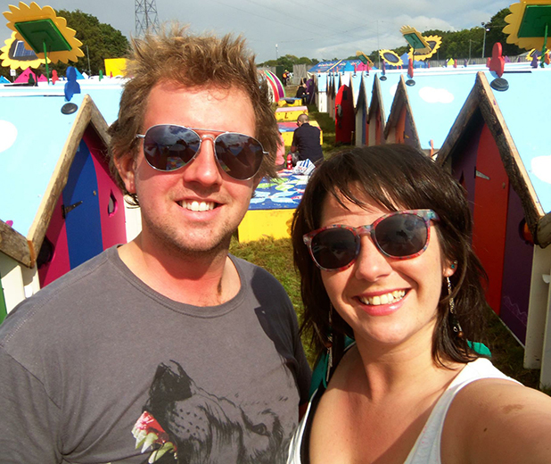Verity Davison and her partner at Isle of Wight Festival