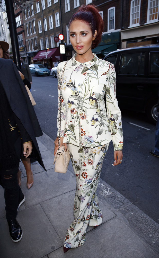 Amy Childs goes for head-to-toe florals for last day of London Fashion week yesterday (24 February)