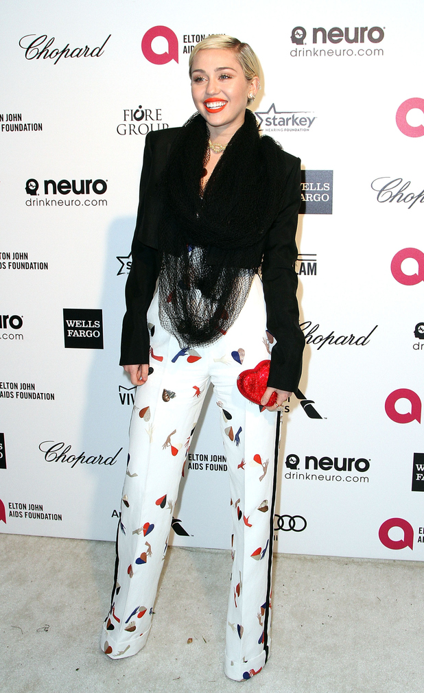 Miley Cyrus looked in chic outfit at Elton John's Oscars party