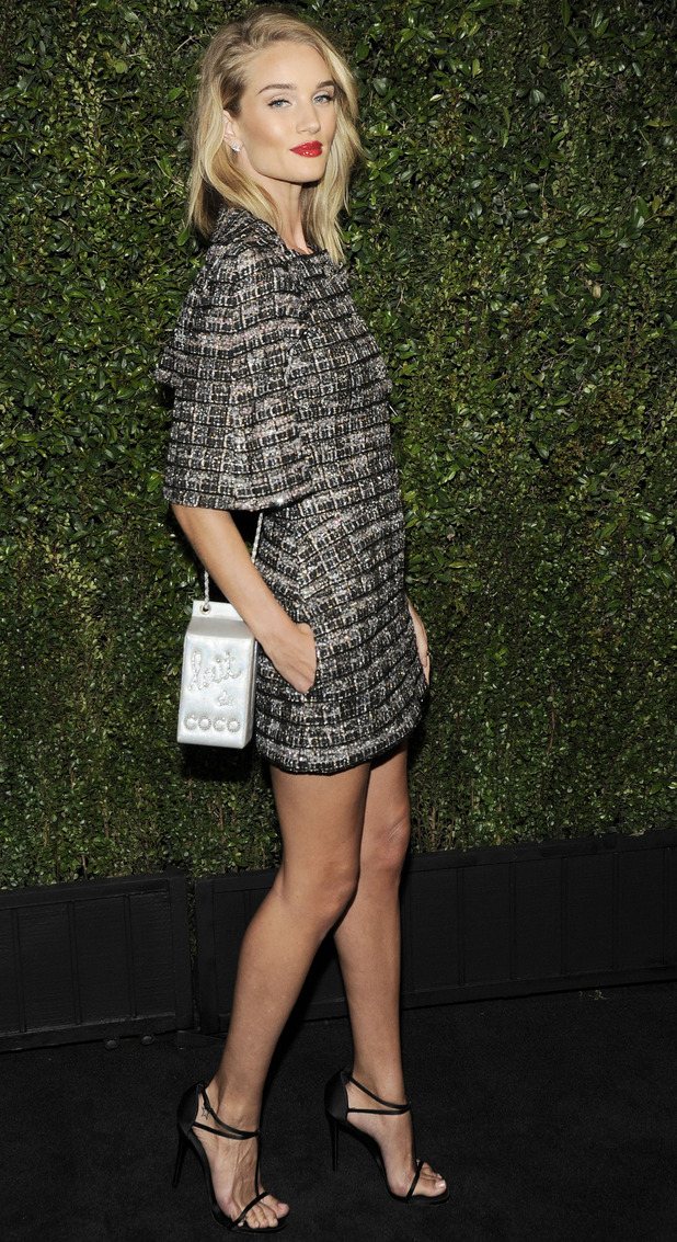 Rosie Huntington Whiteley at Chanel and Charles Finch Pre-Oscar Dinner at Madeo Restaurant, LA, 21/2/15