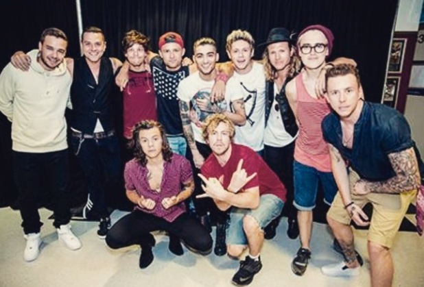 McBusted join One Direction for a group photo on the Australian leg of their tour - 24 Feb 2015