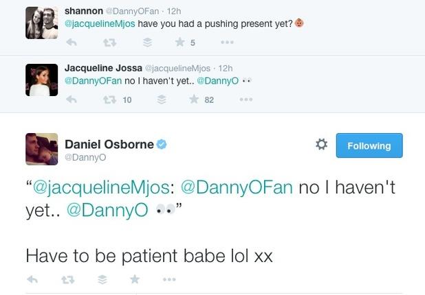 "Dan Osborne and Jacqueline Jossa jokes about her receiving a ""pushing present"", 27 February 2015"