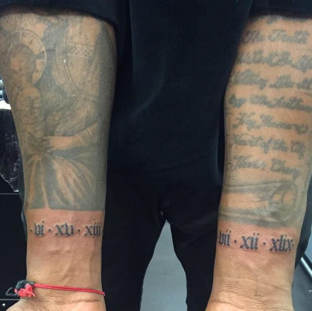 Kanye West shows off his North and Donda tribute tattoo - 27 Feb 2015
