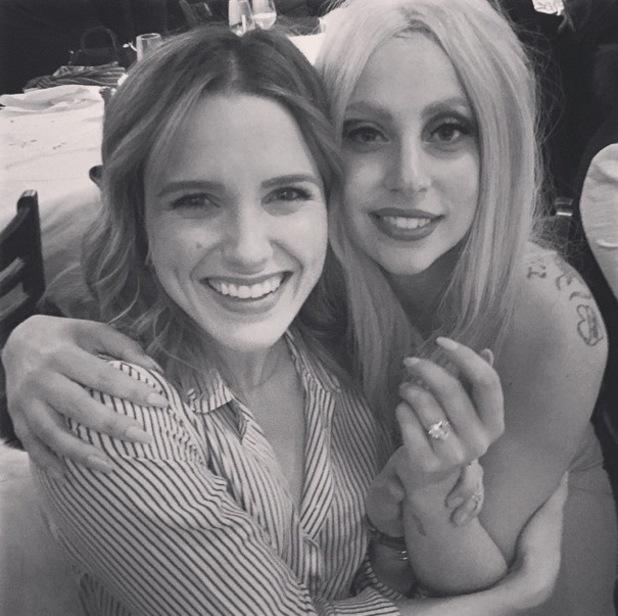 Sophia Bush congratulates Lady Gaga on her engagement on set of Chicago Fire, Instagram 25 February