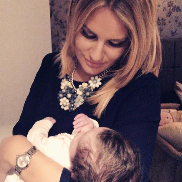 Danielle Armstrong cuddles Dan Osborne and Jacqueline Jossa's daughter Ella - 24 Feb 2015