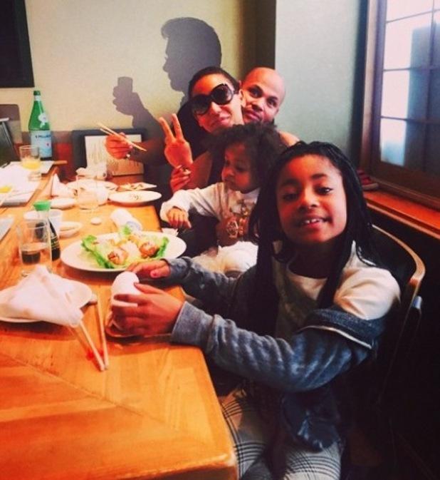 Mel B and Stephen Belafonte eat at Nobu, LA, with Angel and Madison - 27 Feb 2015