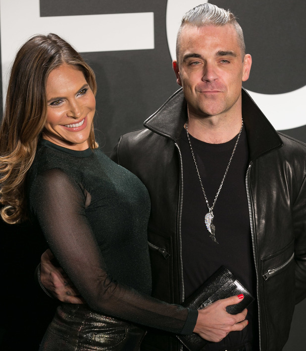 Robbie Williams dyes his hair grey - Tom Ford Autumn/Winter 2015 Womenswear Collection Presentation, LA, 23 February 2015