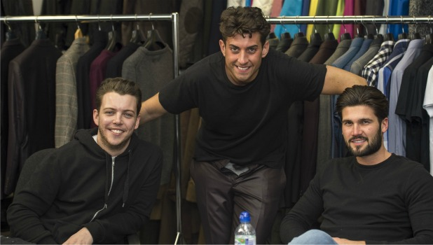 James Argent with Diags and Dan Edgar as he returns to filming TOWIE 24 Feb 2015