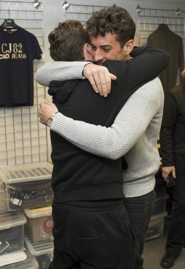 James Argent hugs Diags as he returns to filming TOWIE 24 Feb 2015