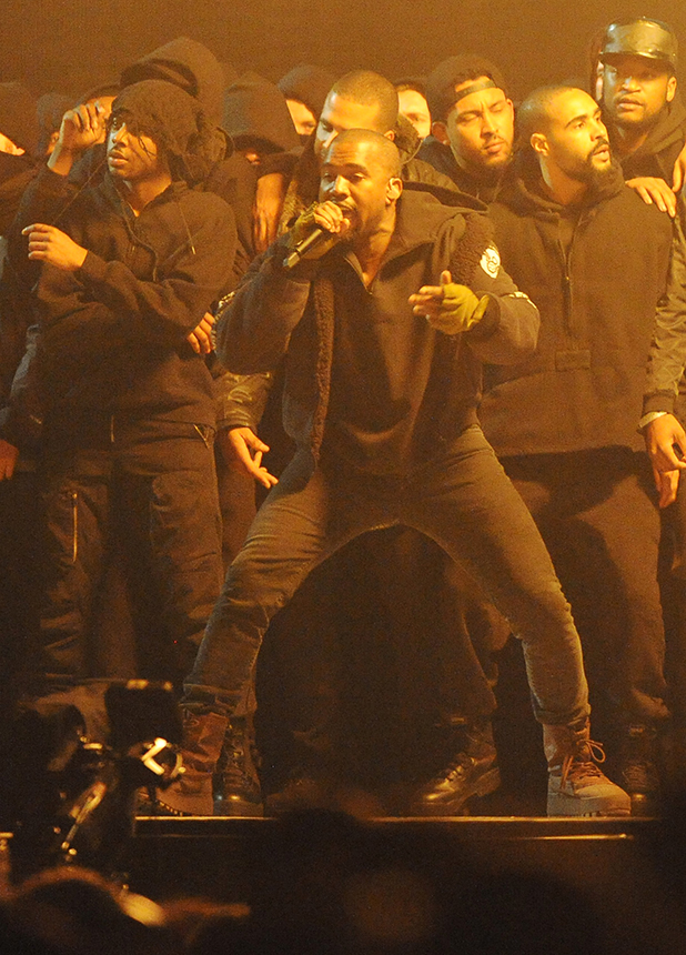 Kanye West at the BRIT Awards 2015 at The O2 Arena on February 25, 2015 in London, England.
