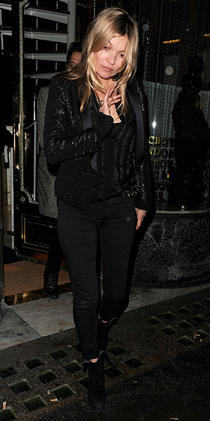 Kate Moss at Mr Chow restaurant in Knightsbridge, London, 22 February 2015