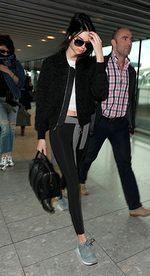 Kendall Jenner arrives at Heathrow Airport, 24 February 2015