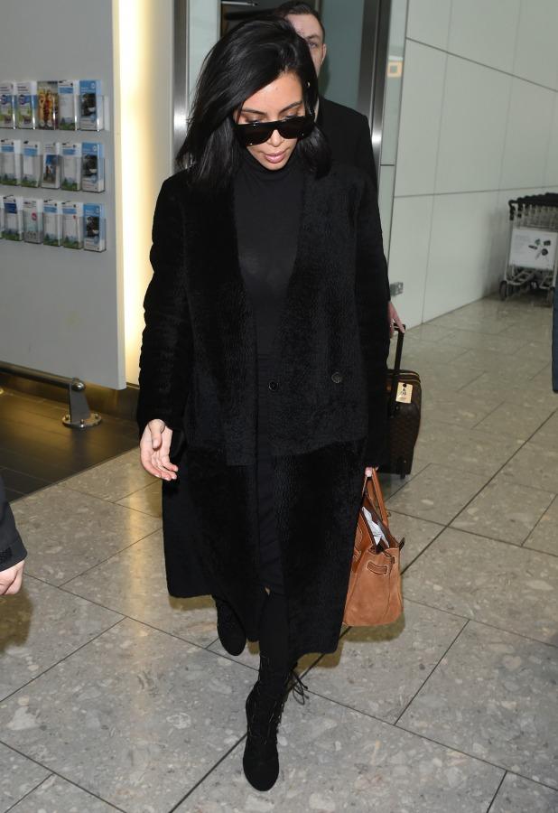 Kim Kardashian arrives at Heathrow Airport, 25 February 2015