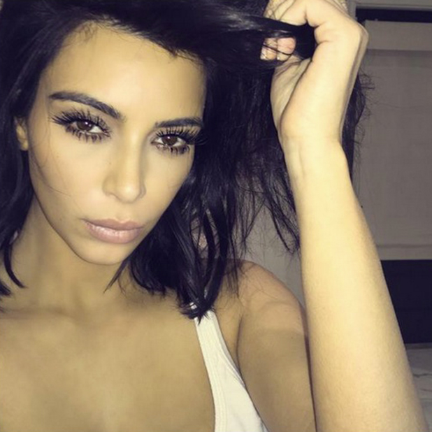 Kim Kardashian shows us what she looks like after falling asleep in full make-up, 24 February 2015