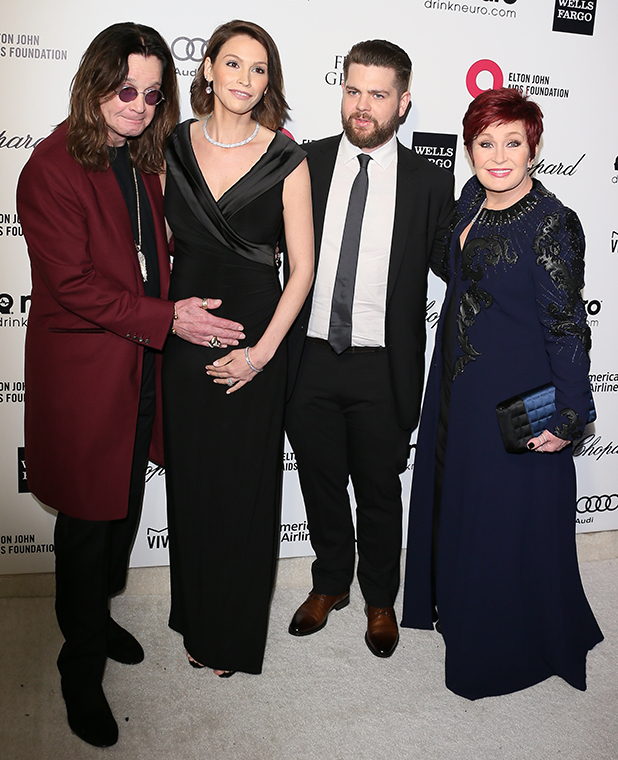 Ozzy Osbourne, actress Lisa Osbourne, Jack Osbourne and TV personality Sharon Osbourne attend the 23rd Annual Elton John AIDS Foundation Academy Awards Viewing Party on February 22, 2015 in West Hollywood, California