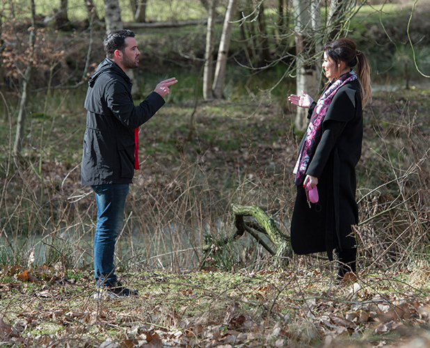 TOWIE filming at Weald Park, Essex, Britain - 24 Feb 2015 Ricky Rayment and Jessica Wright argue in woods.