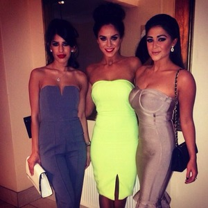 Vicky Pattison poses with Jasmin Walia and Casey Batchelor before The Sun Bizarre party, 2 March 2015