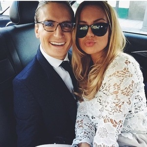Oliver Proudlock and Emma Connolly en route to Eton, Instagram 5 March
