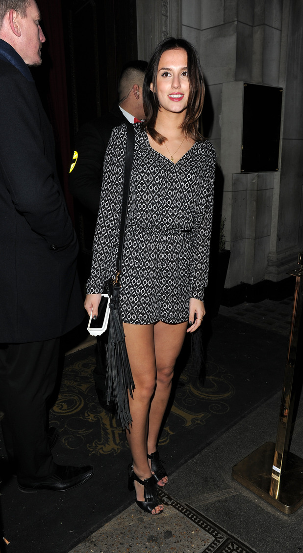 Lucy Watson rocks on-trend tassels in H&M printed playsuit at the Sun newspaper showbiz party (2 March)