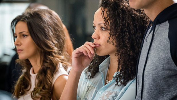 Ordinary Lies shot from episode one: Tracy (MICHELLE KEEGAN), Emma (CAT SIMMONS), Jez (KRIS MOCHRIE)