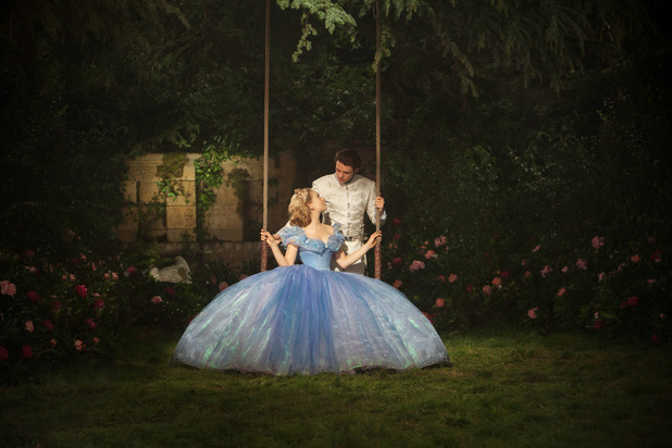 Cinderella and the prince in the secret garden on the night of the ball