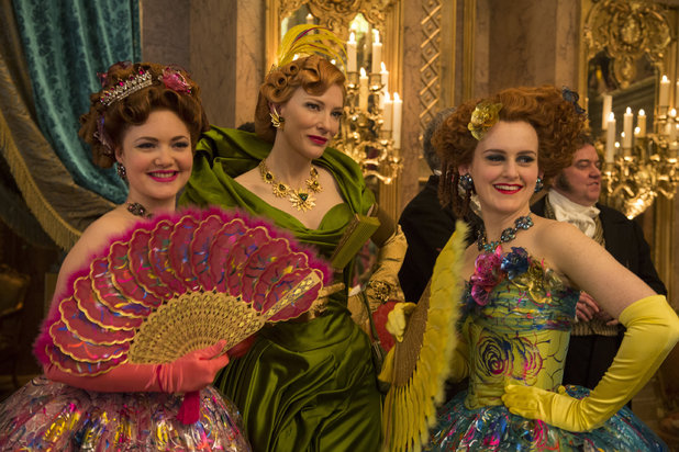 Cinderella's evil step mother played by Cate Blanchett, with her ugly step sisters Drizella and Anastasia, played by Holliday Grainger and Sophie McShera.