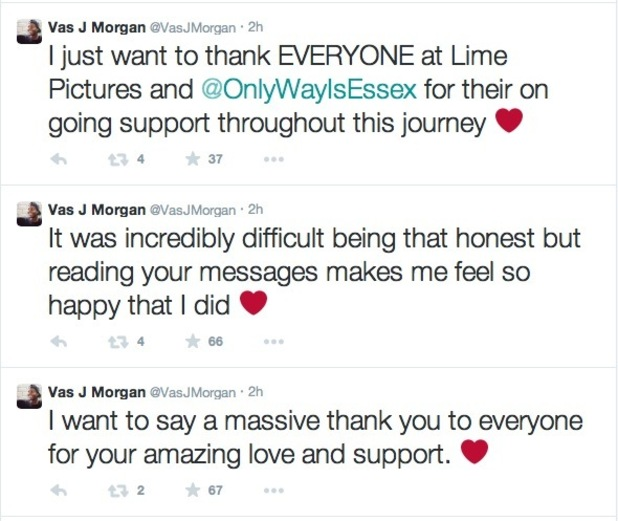 Vas J Morgan thanks fans for support after speaking about gay struggles on TOWIE - 5 March 2015