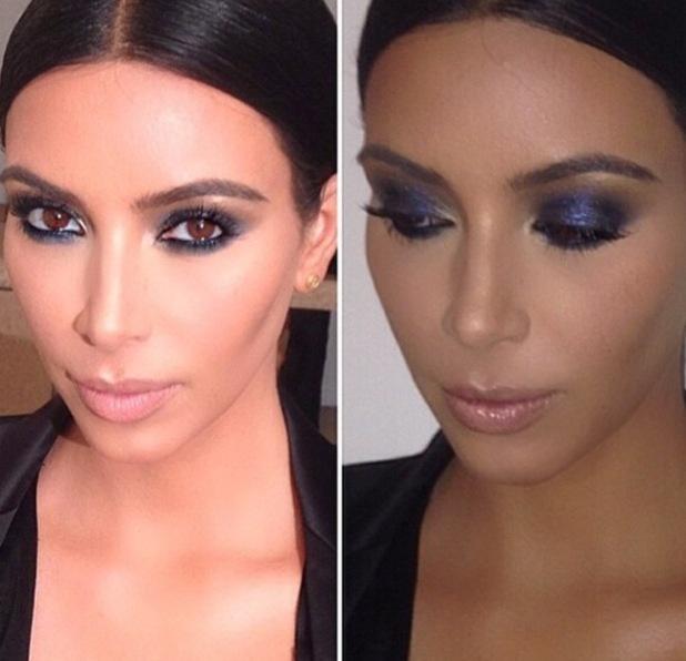 Kim Kardashian's blue smoky eyes, taken from Mario Dedivanovic's Instagram, 4/3/15