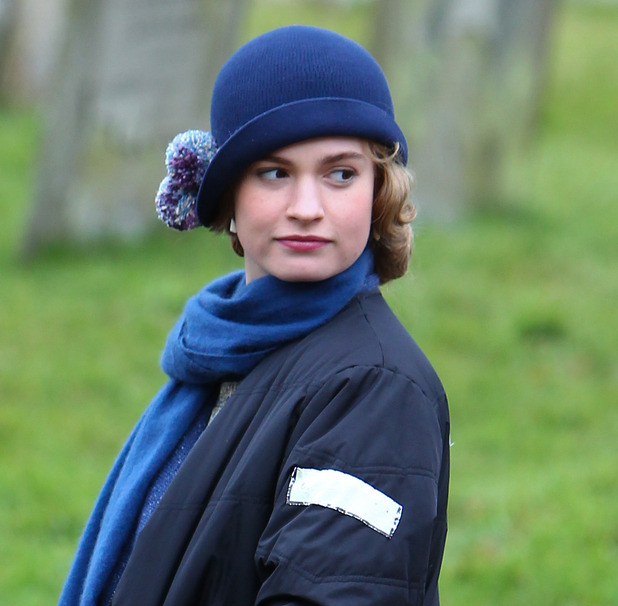 Lily James on the set of Downton Abbey as Lady Rose Aldridge