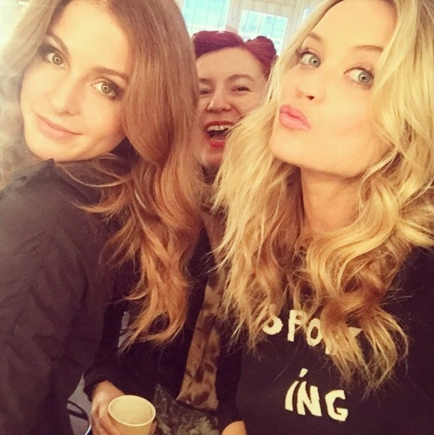 Laura Whitmore and Millie Mackintosh on set of fashion shoot, Instagram 2 March