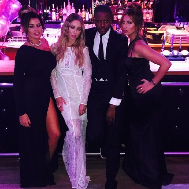 Lauren with fellow TOWIE cast members at filming bash last night (4 March)