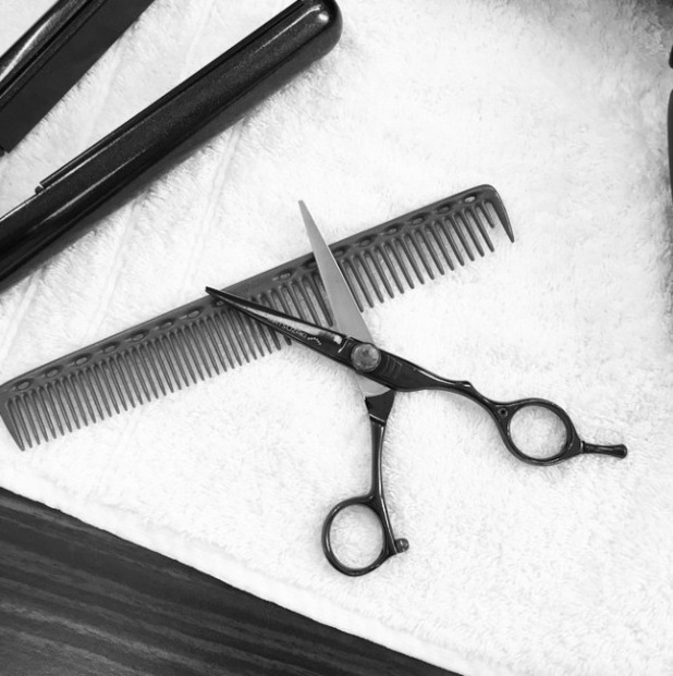 Cheryl Fernandez-Versini teases us with this scissors pic, before getting a new '70s-inspired haircut, thanks to Paul Percival, Percy & Reed, 2 March 2015
