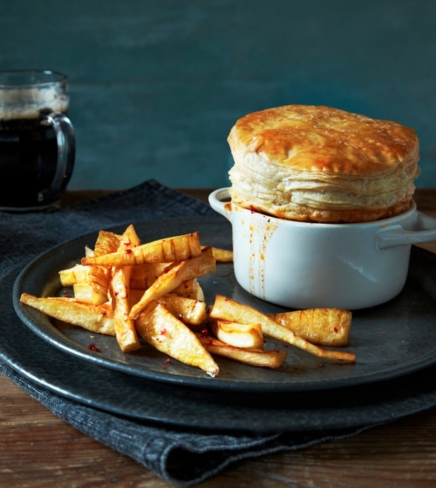 steak & stout pie with parsnip chips from sarson's