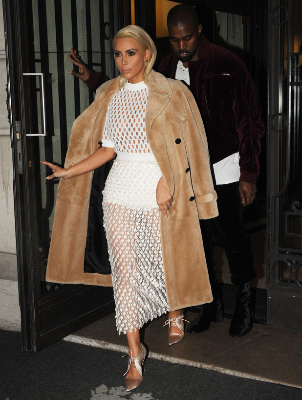 Kim Kardashian and Kanye West out and about in Paris during fashion week, 6 March 2015