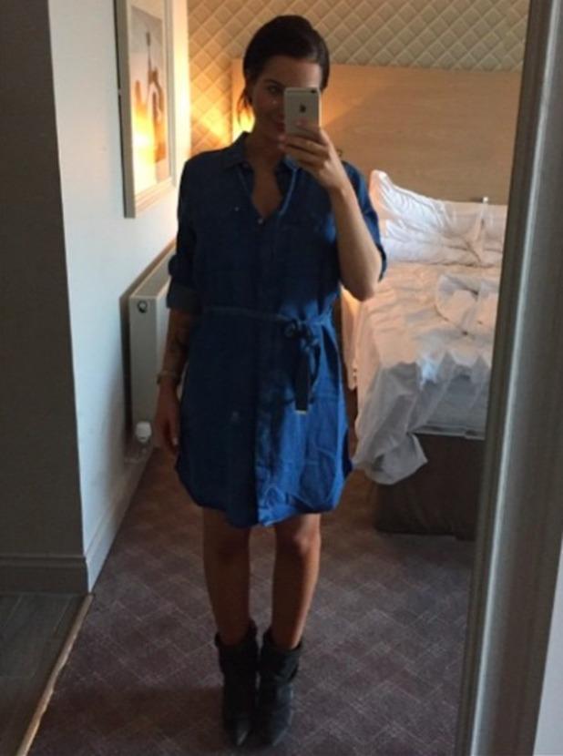 Helen Flanagan looks fab in maternity wear denim dress, 8 March 2015