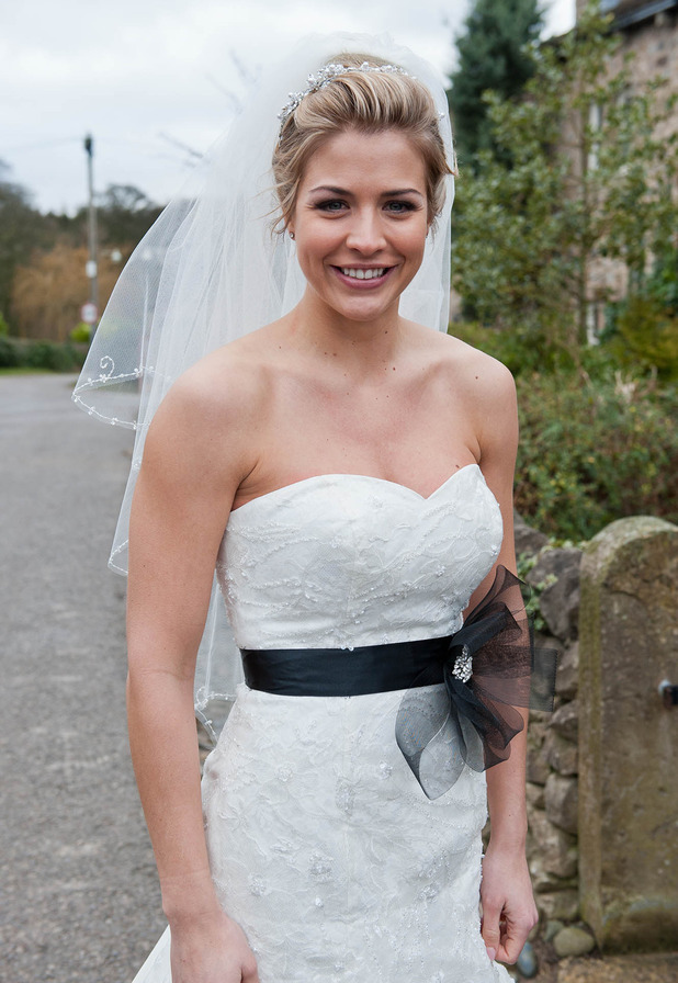 Gemma Atkinson makes Emmerdale debut as Carly Hope in wedding dress - 4 March 2015.