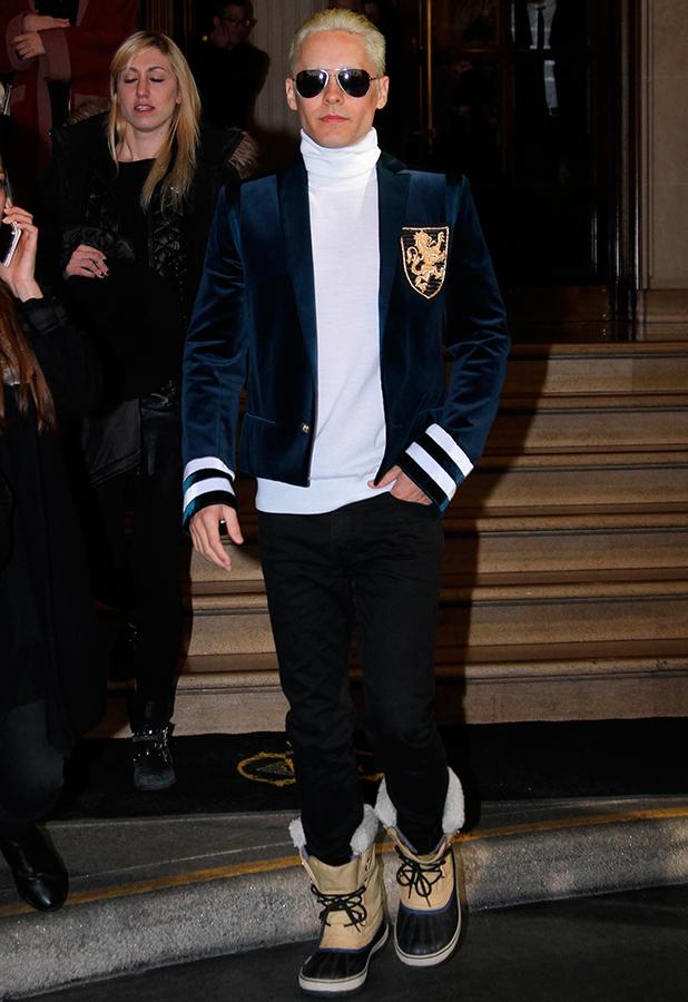 Jared Leto, Paris Fashion Week Womenswear Fall/Winter 2015/2016 - Balmain - Departures, 5 March 2015