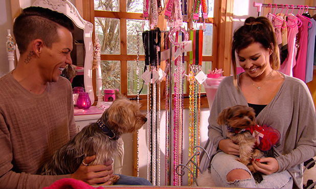 TOWIE's Jessica and Bobby take Bella to doggie pampering. Publicity still. Episode to air 4 March 2015