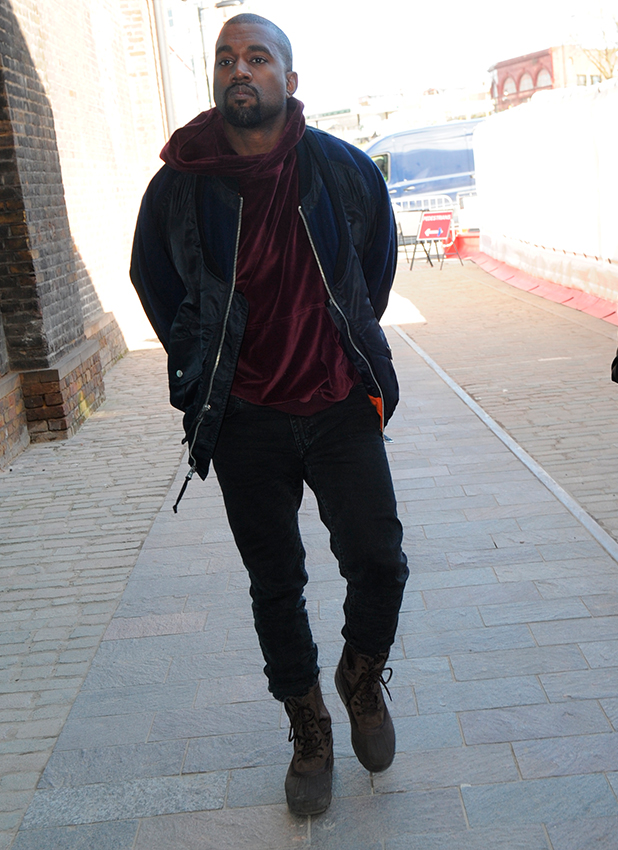Kanye West arriving at Central Saint Martins in North London, 3 March 2015